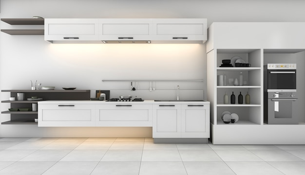 3d rendering white kitchen with nice design built in Premium Photo