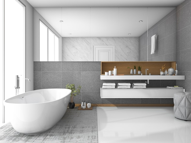 3d rendering white luxury bathroom Premium Photo