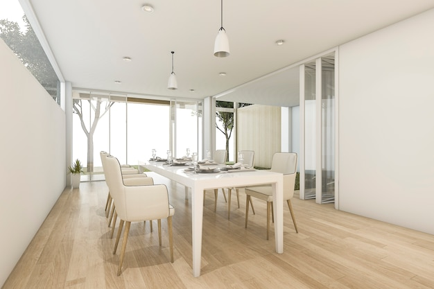 3d rendering white minimal dining room with outdoor view Premium Photo