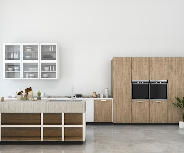 3d rendering white minimal mock up kitchen with wood decoration Premium Photo