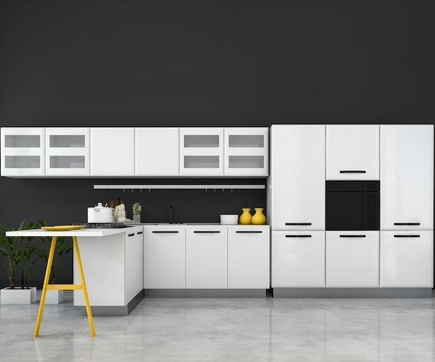 3d rendering white minimal mock up kitchen with wood decoration Premium Photo