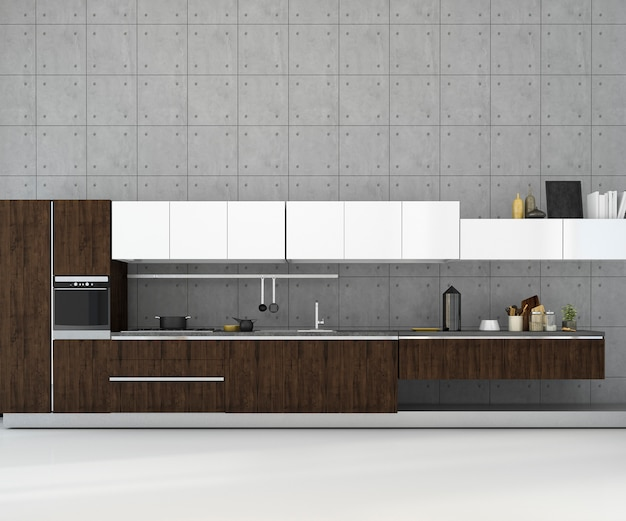 3d rendering white minimal mock up loft kitchen with wood decoration Premium Photo