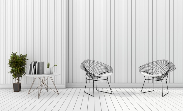 3d rendering white minimal modern design chair with plant Premium Photo