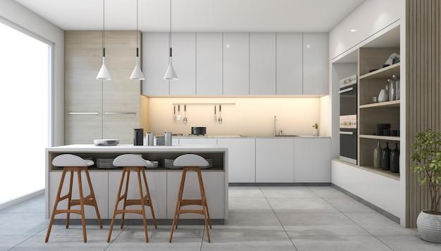 3d rendering white modern design kitchen with lamp Premium Photo