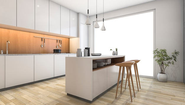 3d rendering white modern kitchen with wood bar Premium Photo