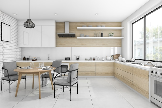 3d rendering white modern and minimal style dining room Premium Photo