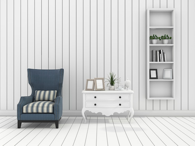 3d rendering white modern wall living room with classic armchair Premium Photo