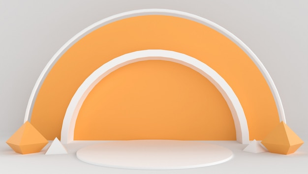 3d rendering of white and orange color with minimal and abstract background. stage show with shape and geometry. Premium Photo