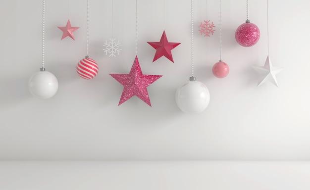 Rendering 3d di ornamenti natalizi bianchi e rosa appesi su uno sfondo bianco Foto Gratuite
