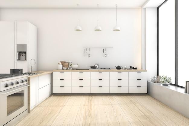 3d rendering white scandinavian style kitchen with lamp Premium Photo