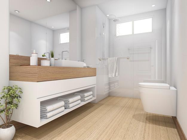 3d rendering white wood design bathroom and toilet Premium Photo
