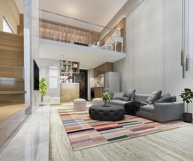 위층 침실 근처 3d 렌더링 흰색 나무 거실 프리미엄 사진