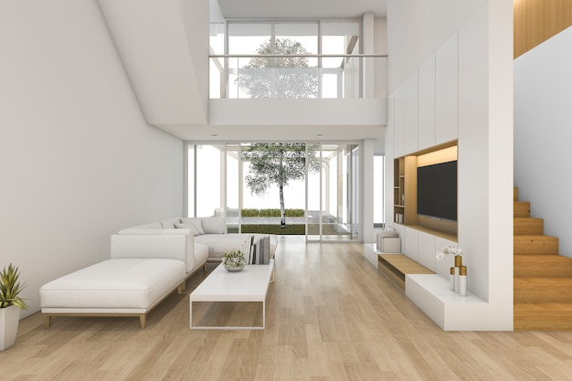 3d rendering white wood living room near stair and outdoor Premium Photo