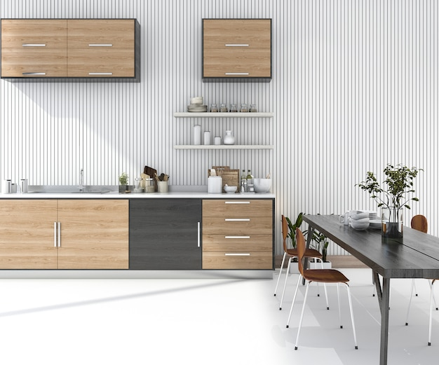 3d rendering wood kitchen bar with dining table and chair Premium Photo