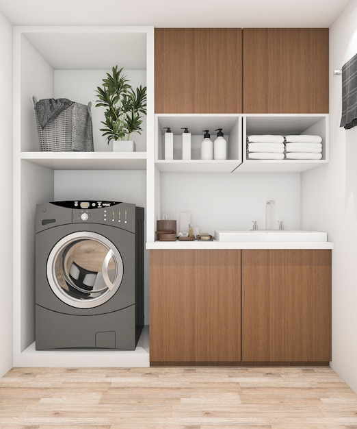Laundry Cupboard Designs: 3d Rendering Wood Laundry Room With Washing Machine Photo