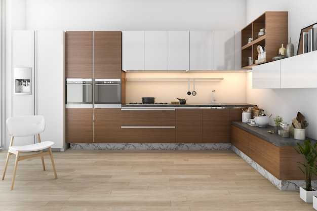 3d rendering wood loft kitchen with bar and living zone Premium Photo