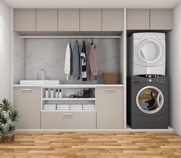 3d rendering wood minimal laundry room with plant Premium Photo