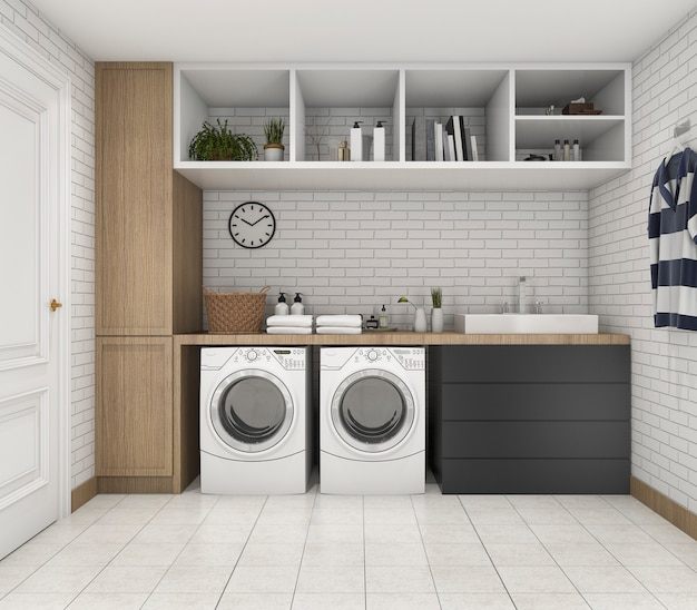 3d rendering wood minimal laundry room with shelf and plant Premium Photo