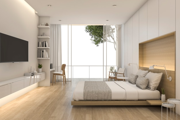3d rendering wood minimal style bedroom with view from window Premium Photo