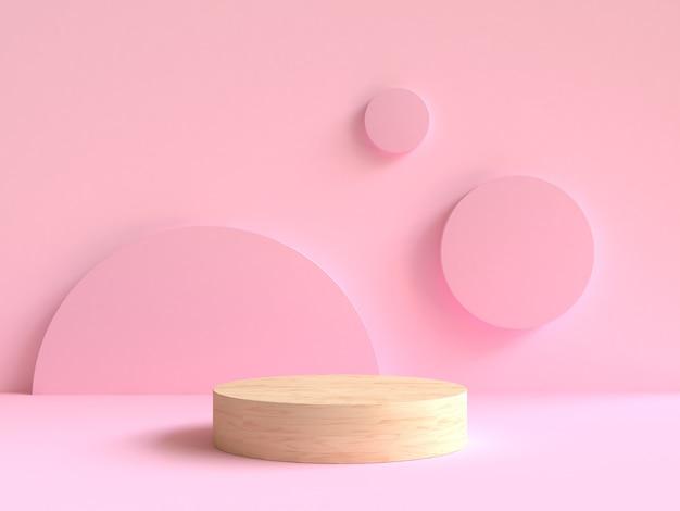 3d rendering wood podium minimal pink wall scene background Premium Photo