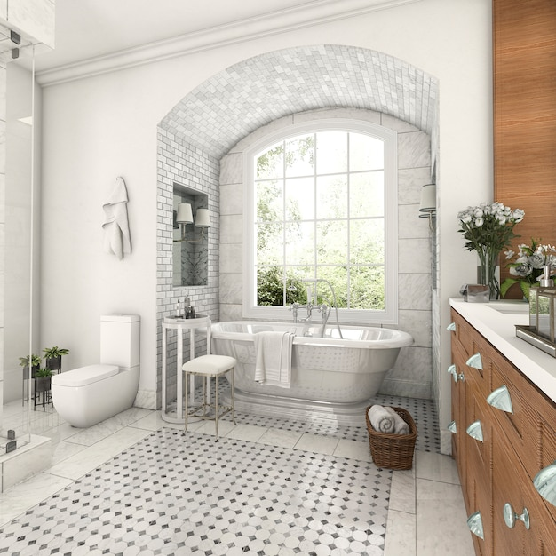 3d rendering wood and tile design bathroom near window with arc brick wall Premium Photo