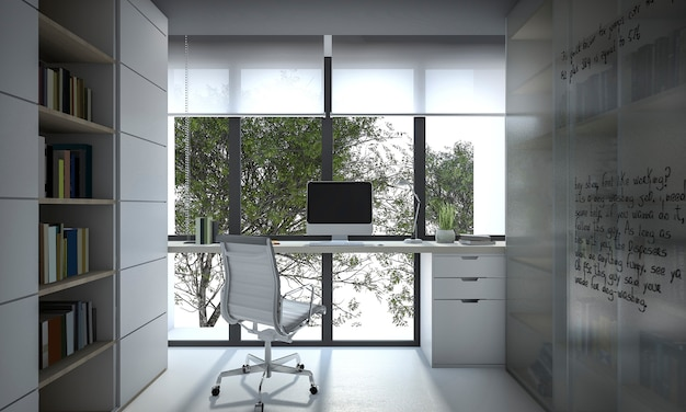 3d rendering working room with book shelf and daylight Premium Photo