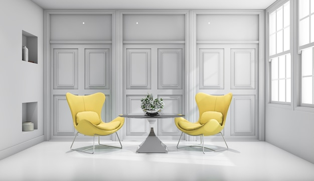 3d rendering yellow design chair in white classic living room Premium Photo