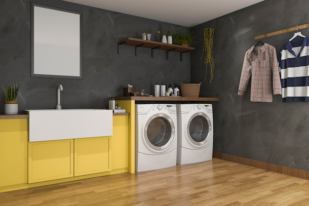 3d rendering yellow sink in laundry room with loft wall Premium Photo
