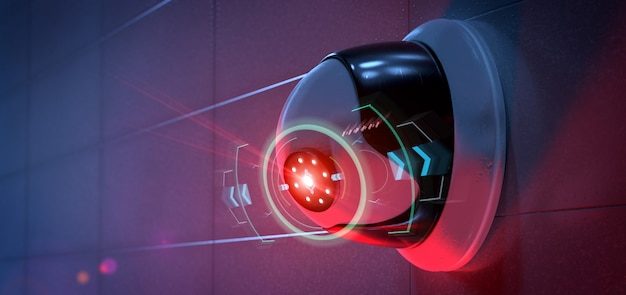 検出された侵入をターゲットにした防犯カメラ -  3d renderinga Premium写真