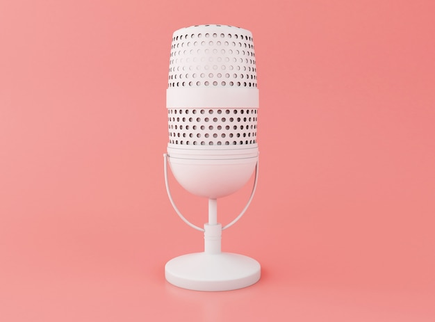 3d retro a microphone Premium Photo