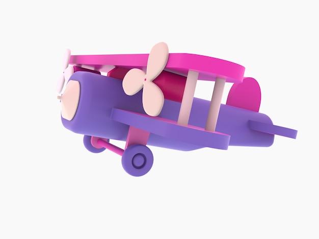 3d retro style pink airplane toy, 3d illustration Premium Photo