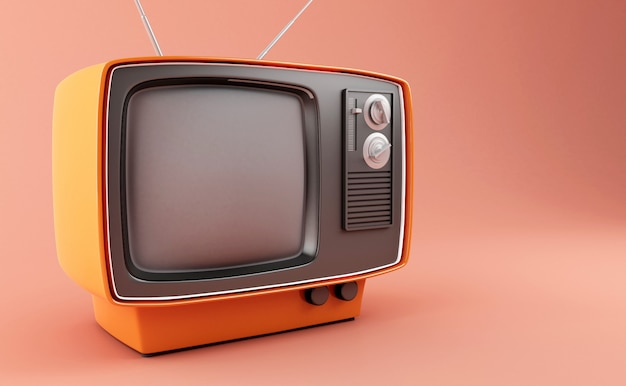 3d retro tv Premium Photo