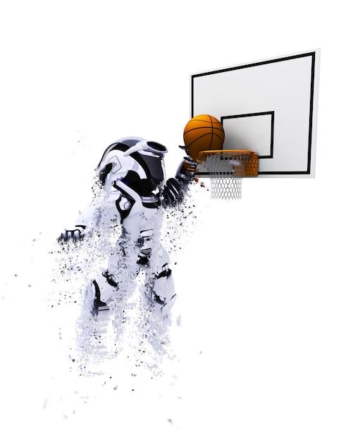 3d robot playing basketball Free Photo