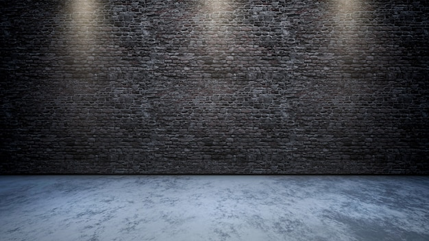 3d room interior with brick wall with spotlights shining down Free Photo
