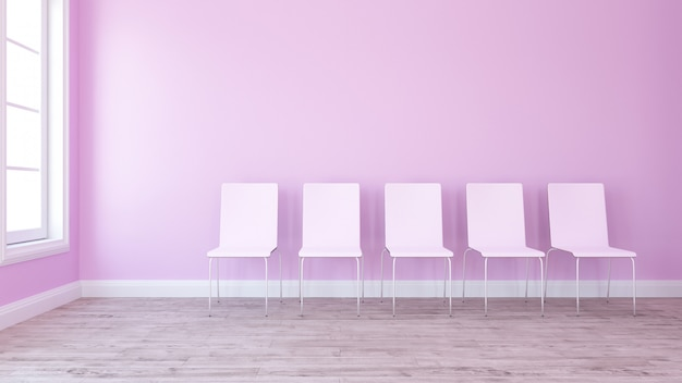 3d row of chairs in contemporary empty room Free Photo