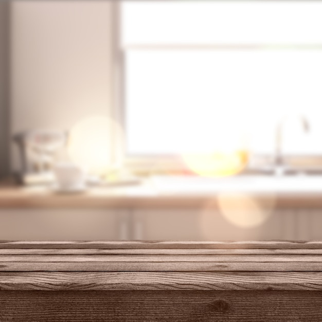 3d rustic table looking out to a defocussed modern room Free Photo