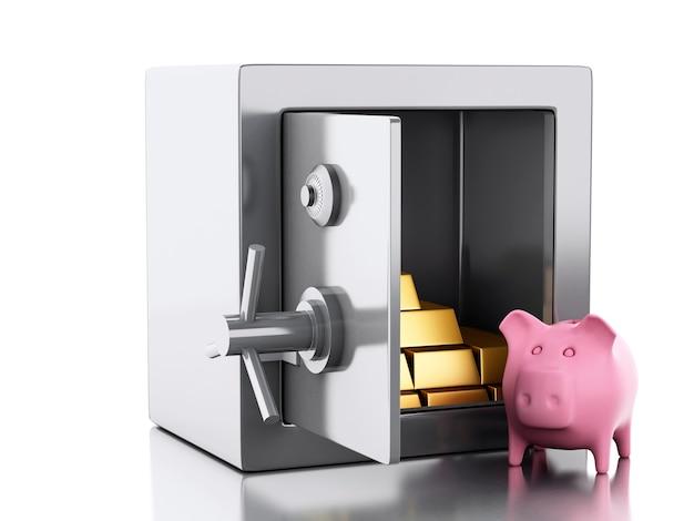 3d safe box. security concept. Premium Photo