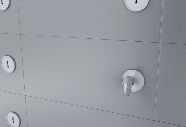 3d safe deposit box with key on keyhole. Premium Photo