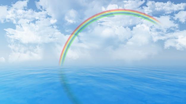 青い海と空にふわふわ白い雲と虹のレンダリング3d 無料写真