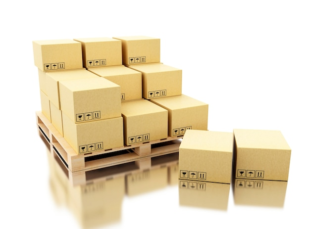 3d shipping cardboard boxes on pallet Photo | Premium Download