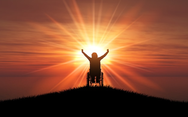 3d silhouette of a female in a wheelchair with her arms raised against a sunset ocean Free Photo