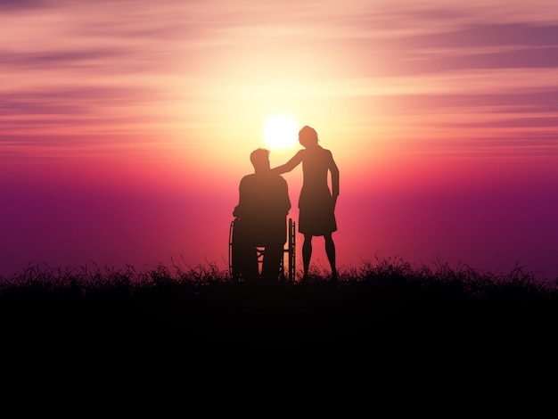 3d silhouette of a man in a wheelchair with a woman against a sunset landscape Free Photo
