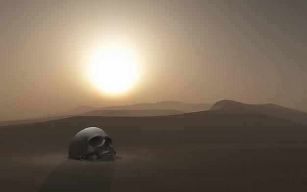 夕暮れの空に対して砂漠に埋葬された3dの頭蓋骨 無料写真