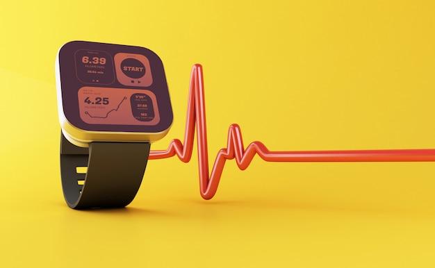 3d smart watch with health app icon Premium Photo