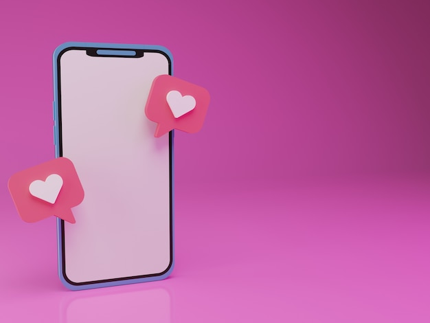 3d smartphone with floating love emoticon in pink background
