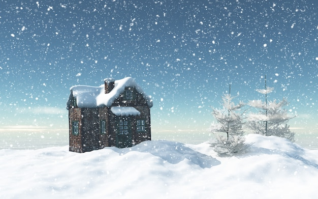3d snowy house with trees and house Free Photo