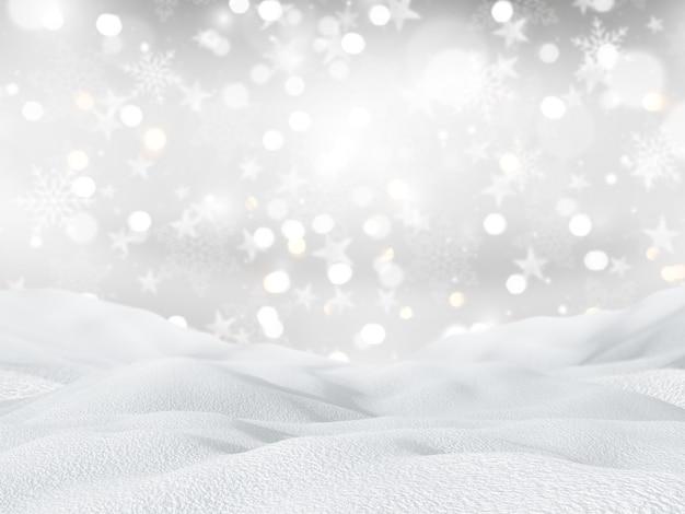 Paesaggio nevoso 3d su uno sfondo di fiocchi di neve e stelle di natale Foto Gratuite