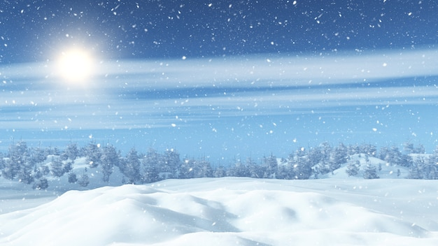 3d snowy landscape with trees Free Photo