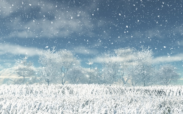 3d snowy landscape Free Photo