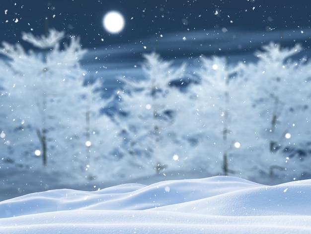 3d snowy tree landscape Free Photo